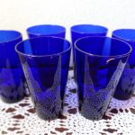 Vintage Set Of 6 Cobalt Blue Drinking Glasses Tumbler Dark Blue Water Glass Manufactured By Libbey Glass Slightly Flared And The Blue Catch The Light