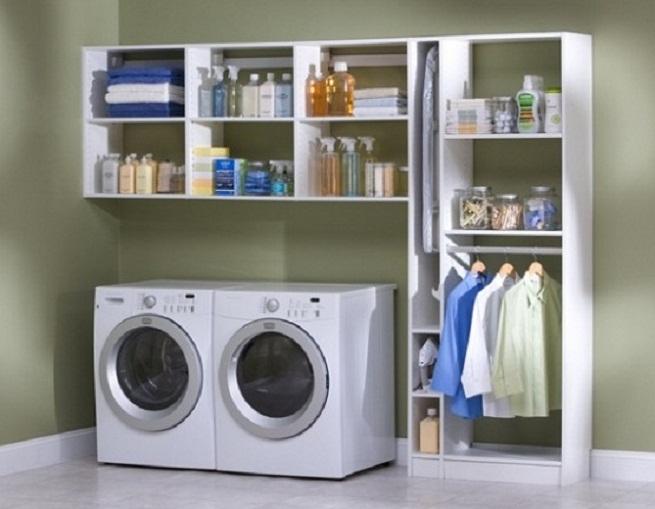 shelving for laundry room ideas homesfeed. Black Bedroom Furniture Sets. Home Design Ideas
