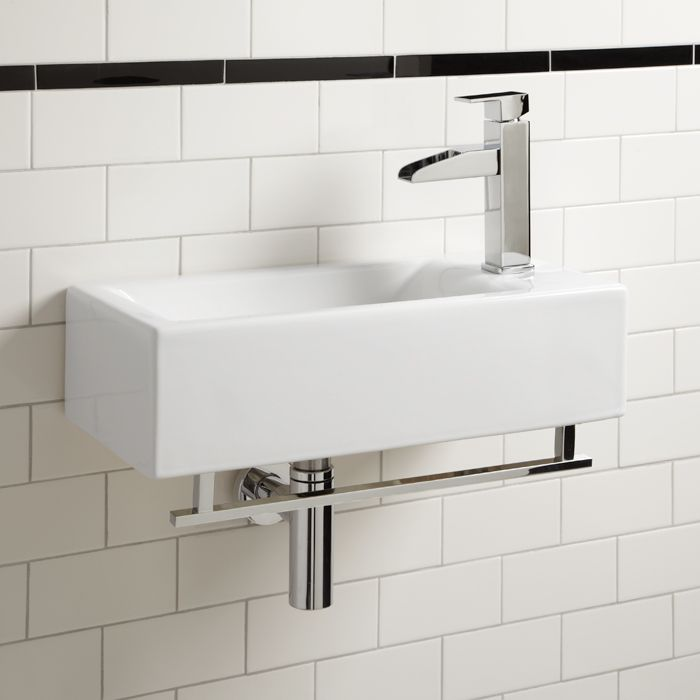 Wall Mount White Sink With Glossy Steel Faucet