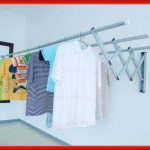 Wall mounted lightweight metal drying rack for clean laundries