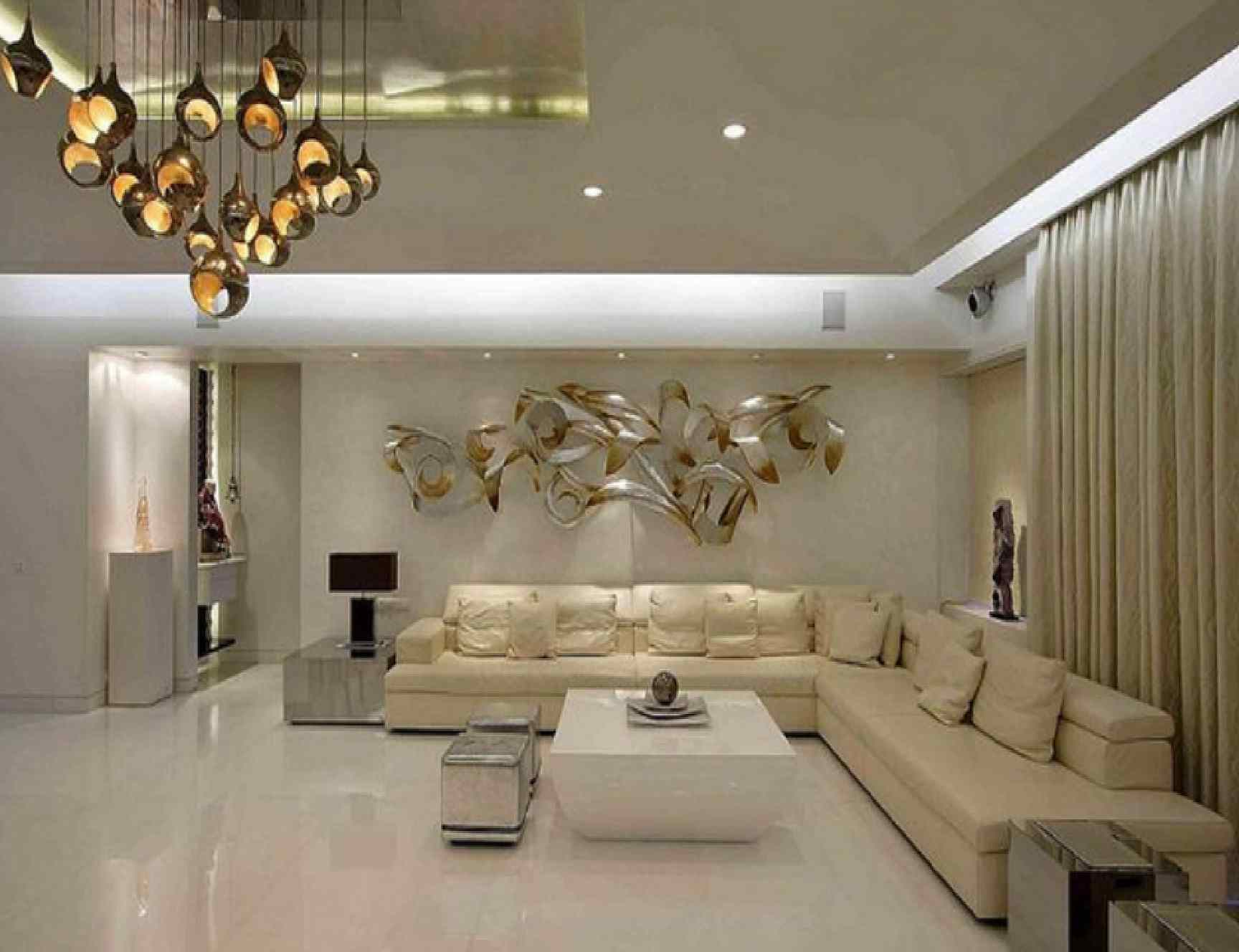 Warm And White Luxury Living Room Theme With L Shaped Sectional Sofa Unique Chandelier