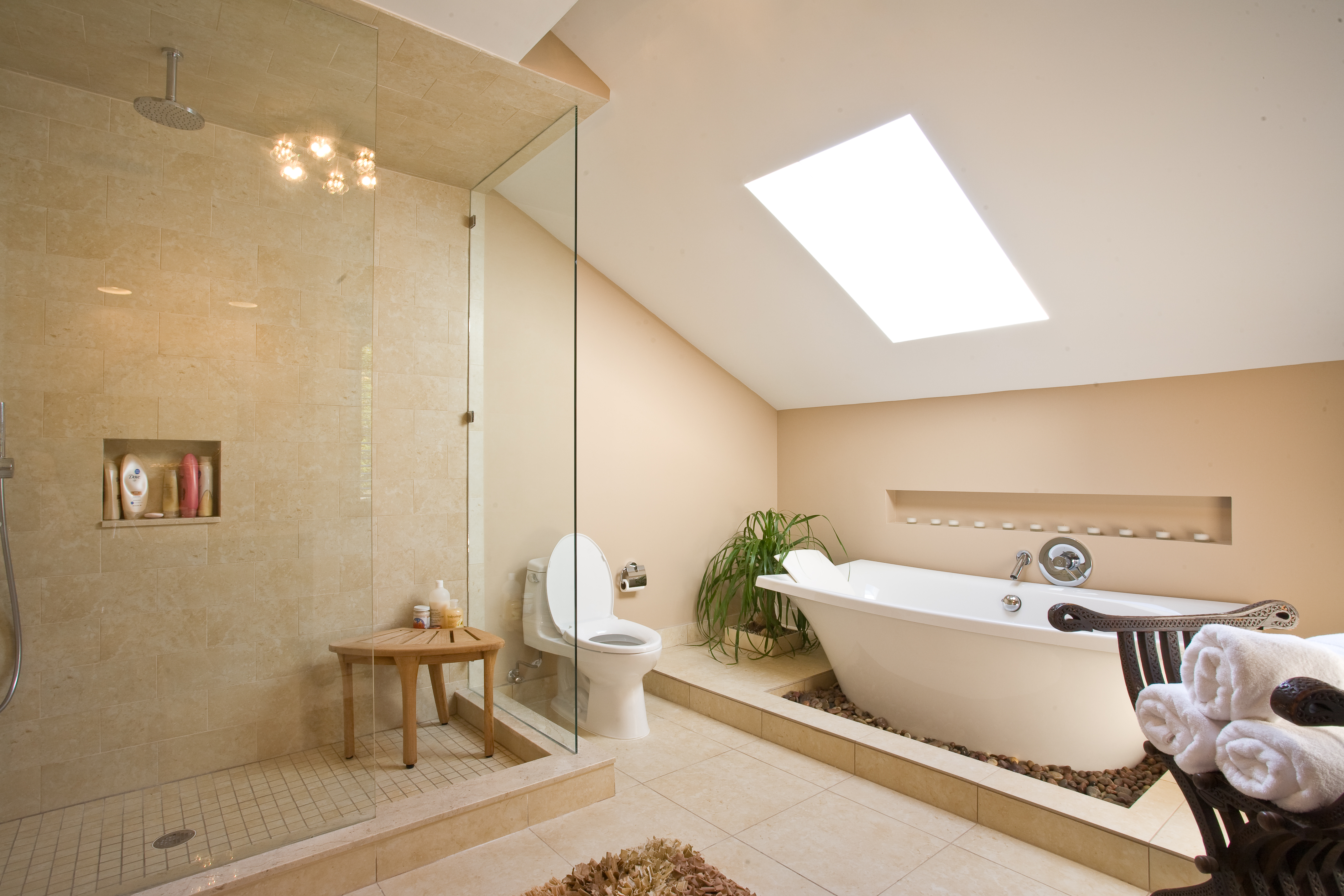 Warm Bathroom Design With Skylight Ceiling Large Shower Room Big Bath Tub  And Fur Rug