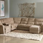 Warm reclining sectional idea with microfiber as the material white shaggy area rug artistic and cool dried tree branches wall art