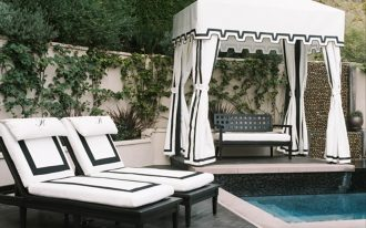 White And Black Pool Cabana With Mini Pool