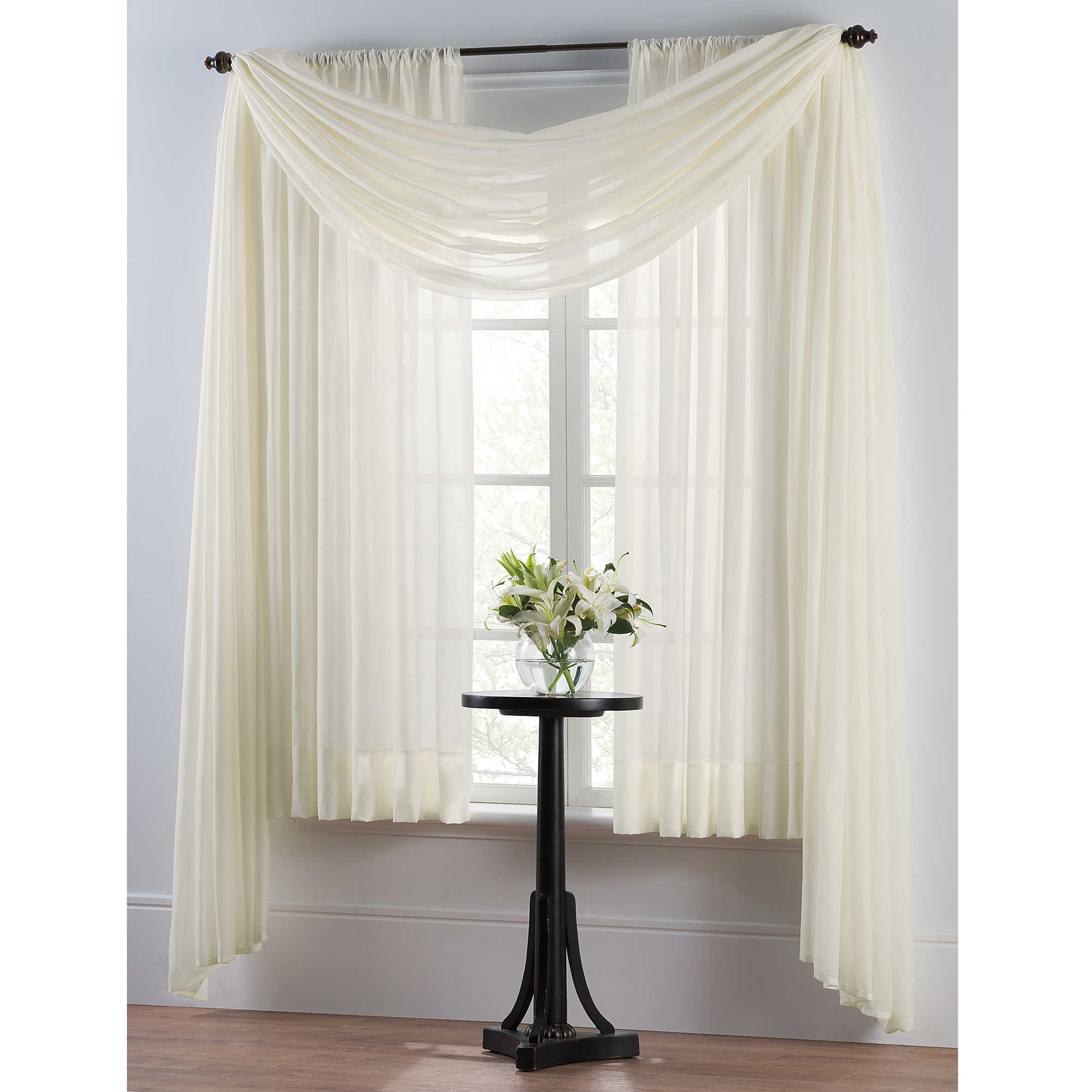 White And Long Winter Curtain With Standing Long Table
