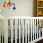 White Baby Crib And Book Shelf Yellow
