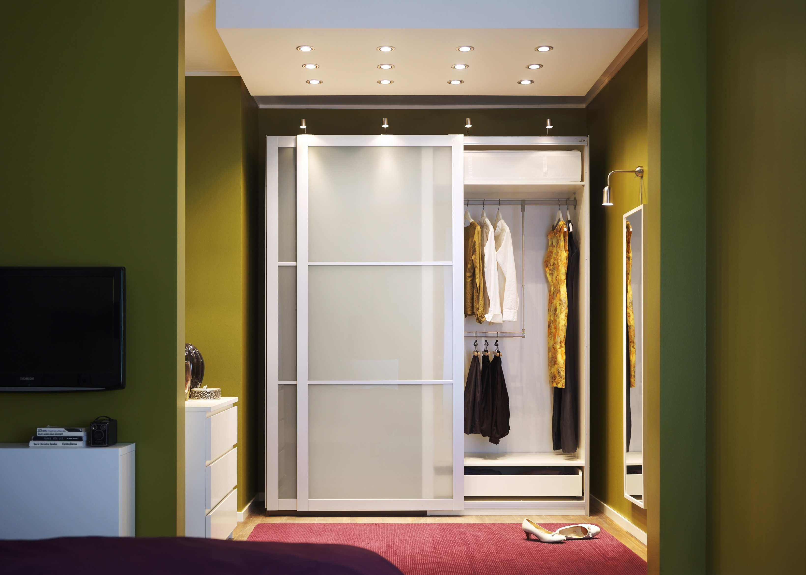 white bedroom sliding closet door inside the bedroom with modern tv and modern cabinet - Ikea Closet Design Ideas