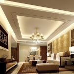 White Ceiling With Cool Architecture And Chandelier White Sofas And Artistic Frame
