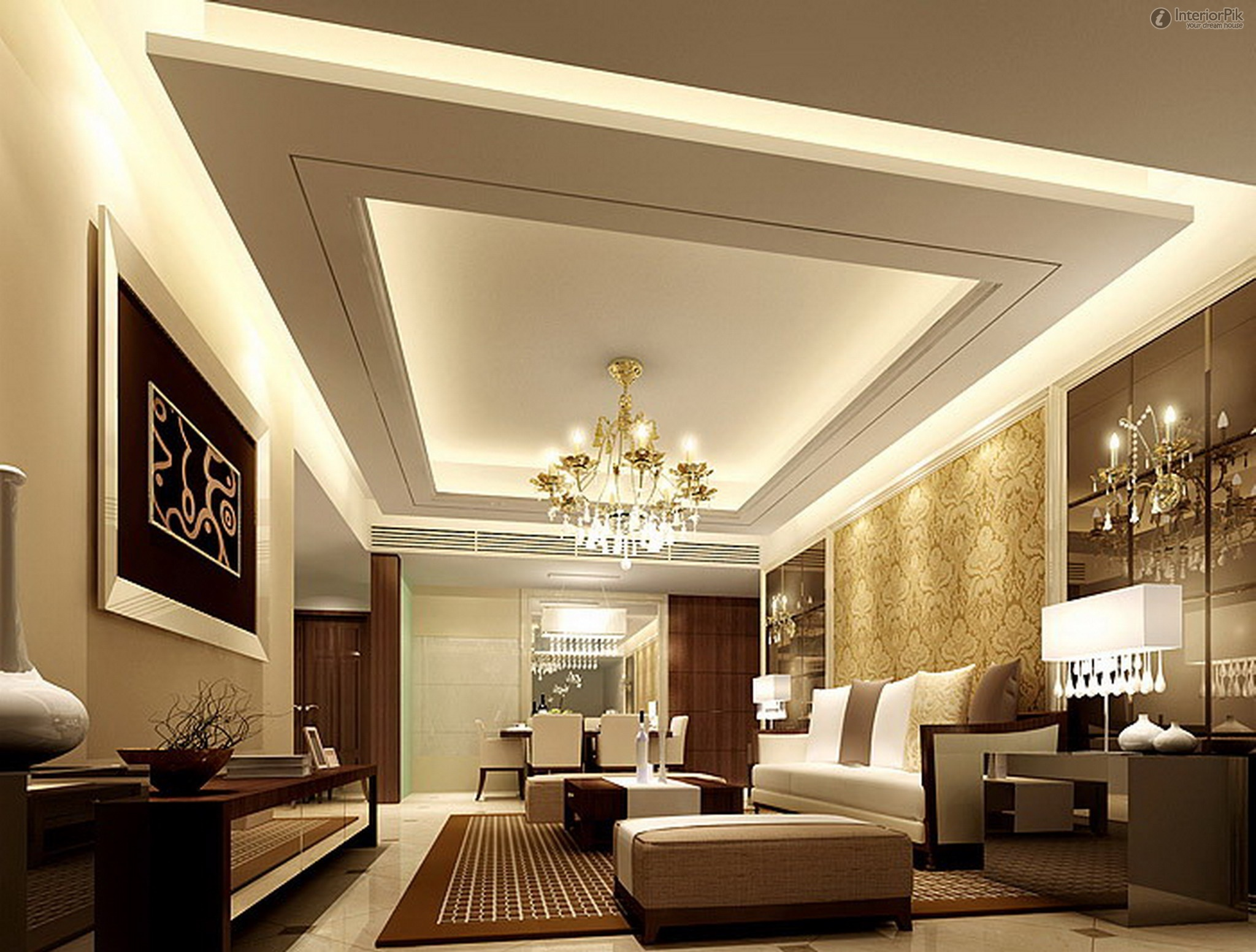 White Ceiling With Cool Architecture And Chandelier Sofas Artistic Frame Green Design Of Living Room