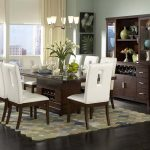 White Chairs Brown Wood Table Chandeliers Lighting Also Added White Faux Leather