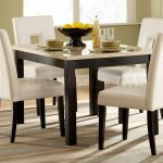 White Chairs With Square Dining Room Table With Decorative Carpet