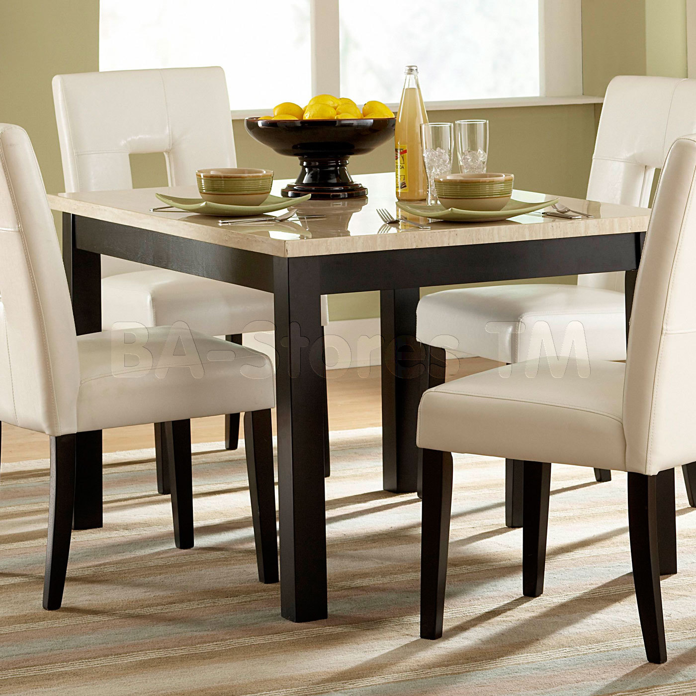 White Dining Room Table And Chairs: Square Dining Table For 4