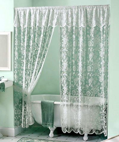 White Elegant Rose In Lace Shower Curtain With