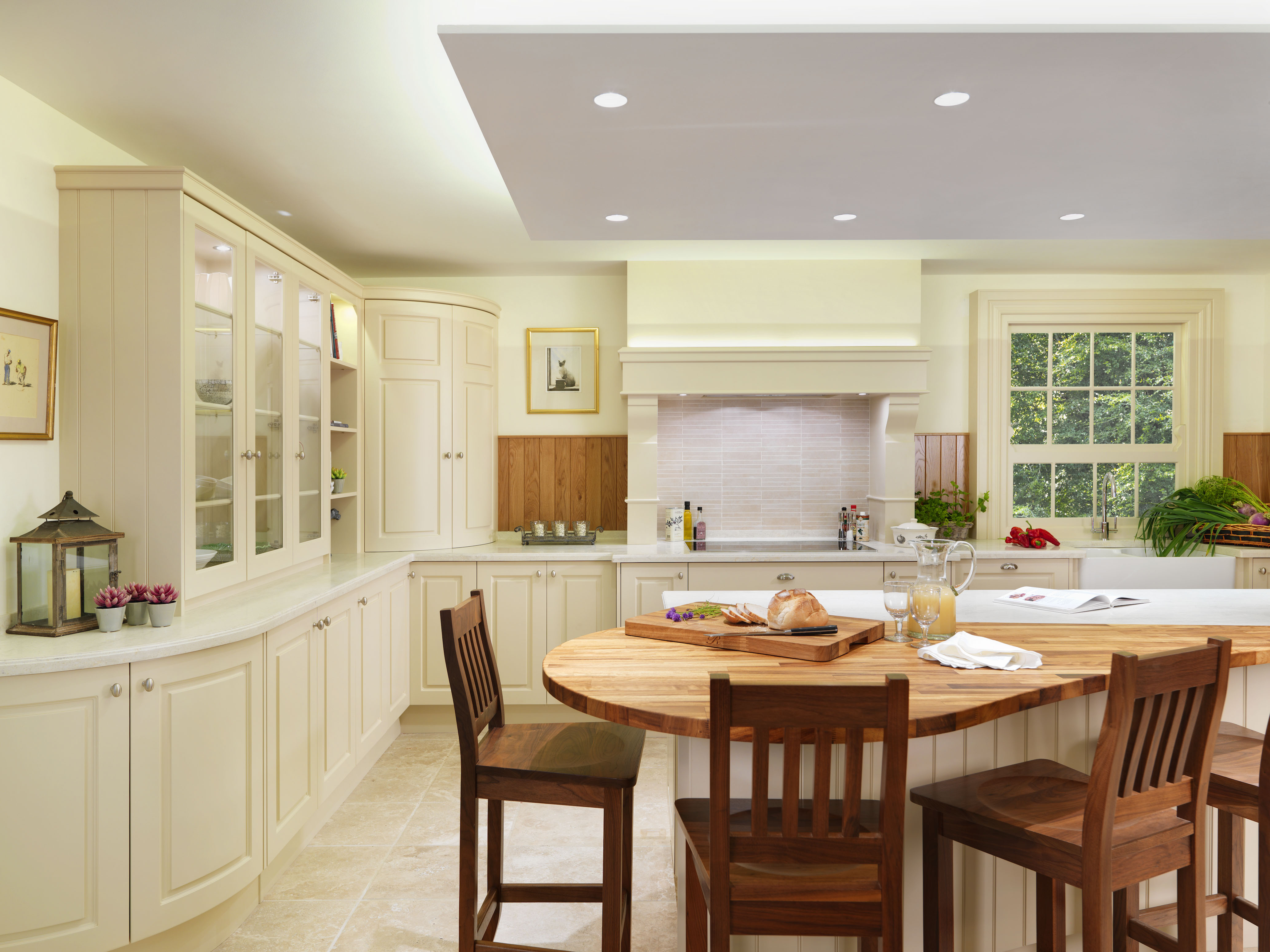 White Kitchen And Fresh Look With Wooden Kitchen Table Chairs Set