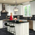 White Kitchen Set Design Wih Black Tiling On Floor And BAcksplash