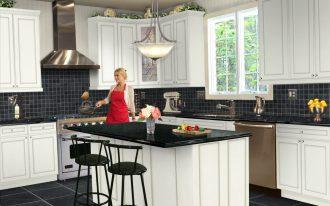 White Kitchen Set Design Wih Black Tiling On Floor And BAcksplash
