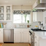 White Kitchen With Decorative Window Curtain