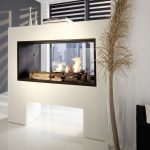 White Living Room Contemporary Design With Double Sided Model Electric Fireplace