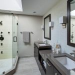 White Wall Paint Skylight Mirror With Balck Wooden Frame And Glass Door Shower For Bathroom