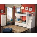 White Wooden Bunk Bed With Drawers And Stairs Brown Fur Rug Ceramics Floor Red Bedroom Design Twin
