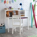 White Wooden Kids Furniture Desk Set With Chair