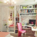 White And Colorful Teenage Desk Pink With Chandelier And Shelfs