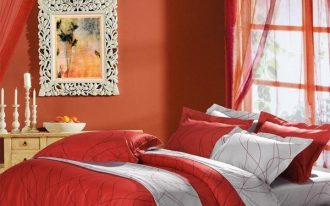 White and red comforter idea for modern bedroom a painting with white crafted frame