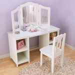 White bedroom vanitty with wooden white vanity chair