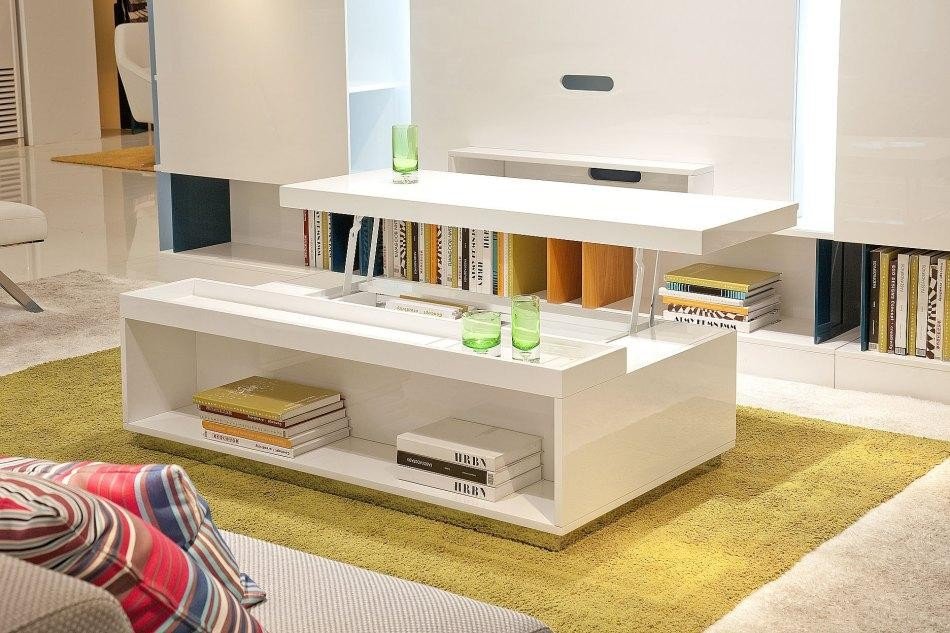 White Coffee Table With Bookcase And Upper Additional Panel