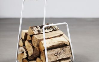 White finished metal log rack