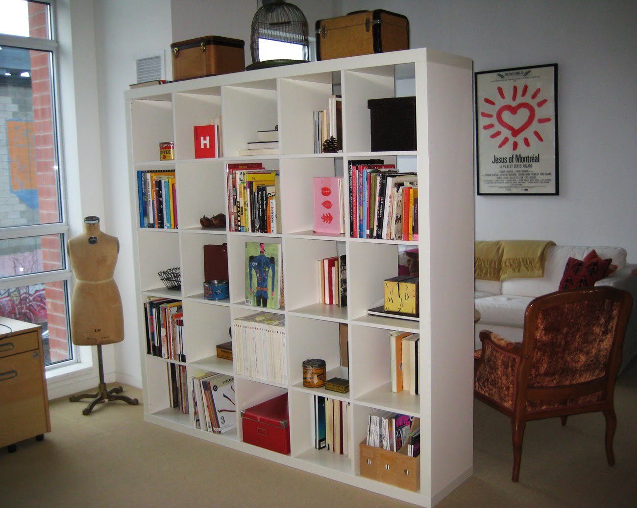 White Finished Open Book Rack As Room Divider Minimalist Bookshelves