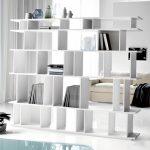 White minimalist bookshelves idea as room partition