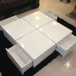 White modern minimalist coffee  table with pull out drawers