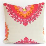White Pillowcase With Pink Orange And Yellow Classic Patterns