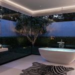 Wonderful Bathroom With Glass Wall For Landscape White Tub Zebra Pattern On Rug Modern Sink And Unique Lighing