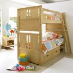Wood bed furniture idea with storage and stairs for twin kids