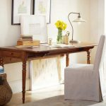 Wood drop leaf as workstation  a chair with pure white cover
