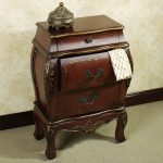 Wooden Brown Small Bombe Chest Brown Classic Style With Two Drawers