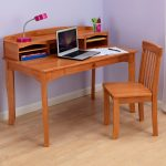 Wooden Classy Kids Desk And Chair With Storage Place