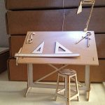 Wooden Drafting Table Complete With Rulers Lamps Tools And Chair