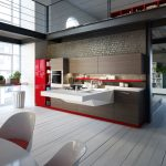 Wooden Kitchen Floor With White And Red Style