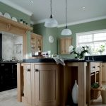 Wooden Kitchen Image With Beautiful Green Wall aint And Casual Lamps