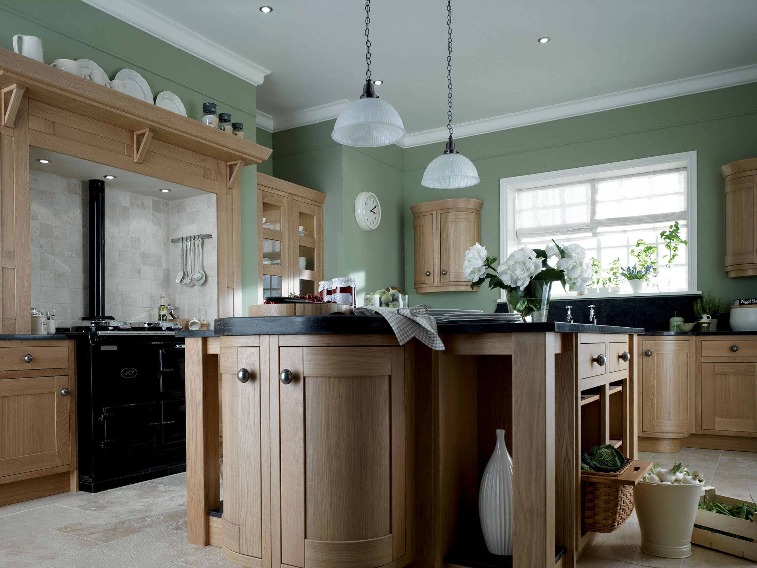 Wooden Kitchen Image With Beautiful Green Wall Aint And Casual Lamps.  Choosing Color Painting ... Part 98