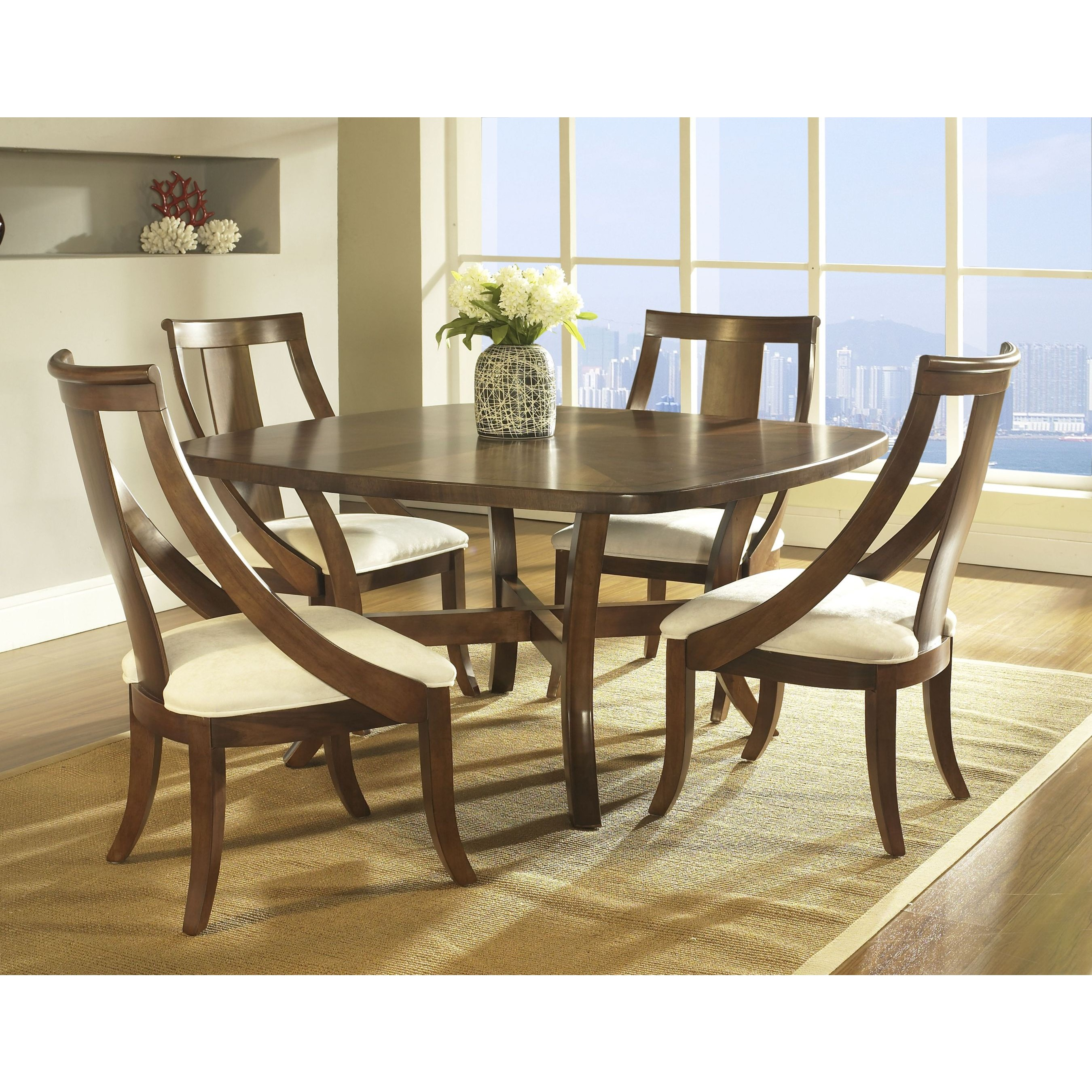 Wooden square dining table - Wooden Square Dining Room Table With 4 Chairs And Warm Rug