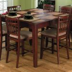 Wooden Square Table And 6 Chairs Of Dinette Set For Dining Room In Hardwood Floor Of Room