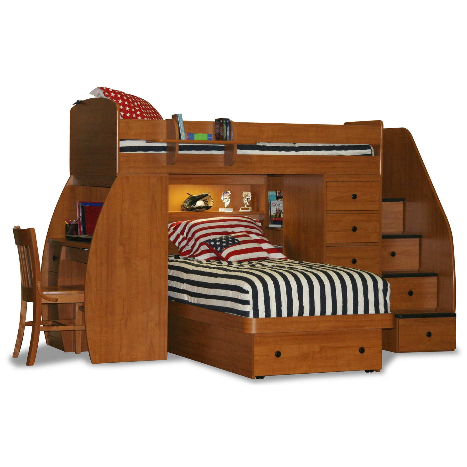 wooden style of bunk bed with two beds shelfs drawers chair