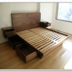 Wooden king platform bed furniture with headboard drawer system and  mounted bedside tables with drawer unit