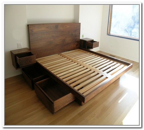Wooden king platform bed furniture with headboard drawer system and ...