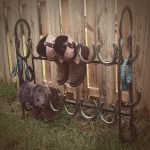 Wrought iron boot rack idea for outdoor