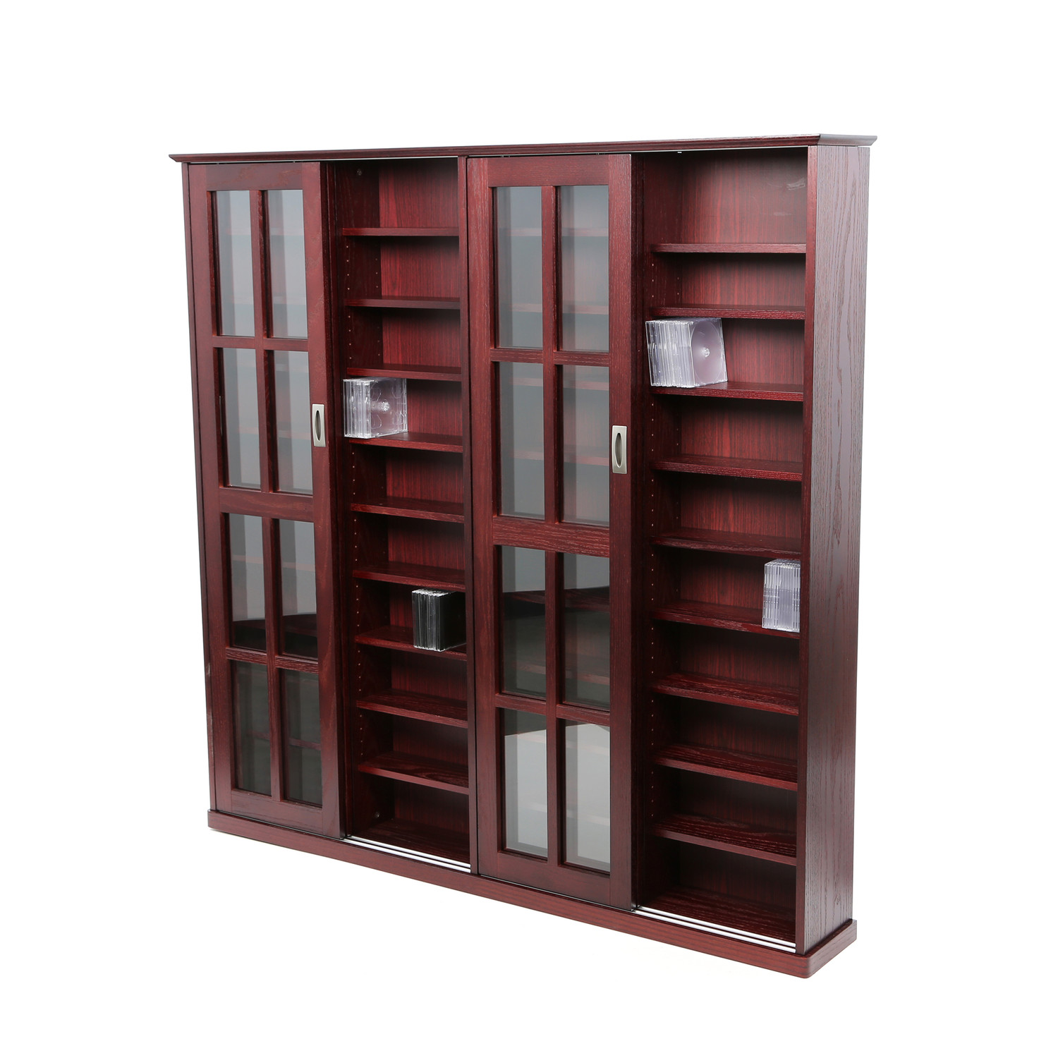 Admirable Wooden Storage Cabinet With Glass Doors Made Of Cherry Wood
